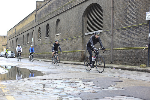 Riding the cobble near Wapping