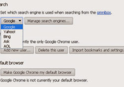 Search engine settings screen
