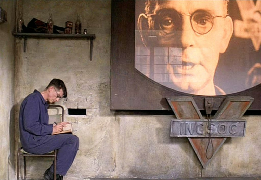 Winston Smith and viewscreen 1984