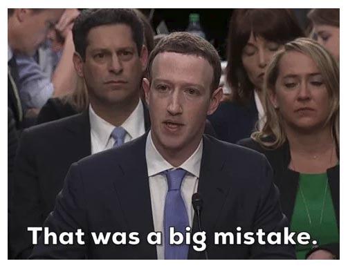 Zuckerberg apologising