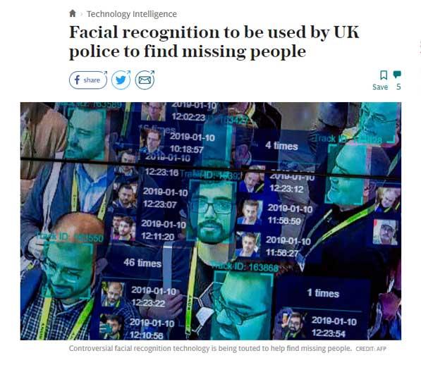 Daily Telegraph facial recognotion headlne