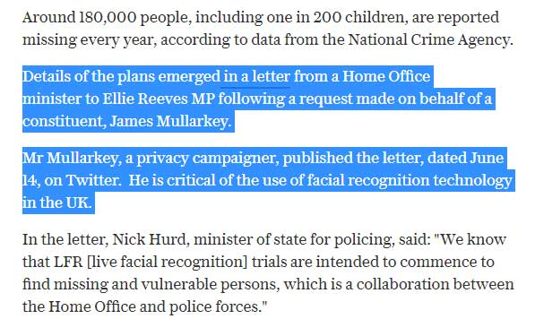 telegraph article quote facial recognition