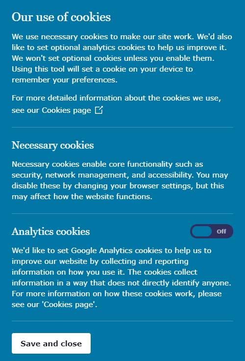 ICO website cookie consent closeup